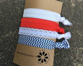 Knotted elastic hair tie - ponytail holder - foldover elastic - americana - usa - white, red, white lace, and blue chevron