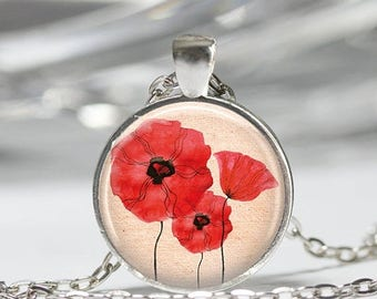 ON SALE Red Poppy Necklace Field Of Poppies Flowers Floral Art Pendant in Bronze or Silver with Link Chain Included