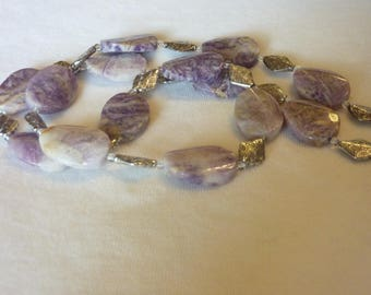 Flower Sugilite Silver Quartz Necklace - 26 1/2 Inches