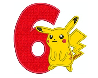 PIKACHU Number 6 - Machine Applique Embroidery - Instant Digital Download