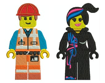 LEGO PEOPLE 1 - Machine Filled Embroidery - 2 Patterns in 2 Sizes - Instant Digital Download