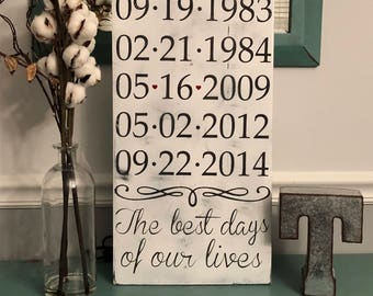The best days of our lives wood sign - Personalized - Custom made - Family sign - Wedding - Children - Mother's Day