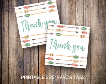 """Tribal Favor Tags, 2.25"""" Square Tags, Thank You Tag, Rustic Baby Shower Tags, Gift Tags, Digital Download, Printable Tags, 810"""