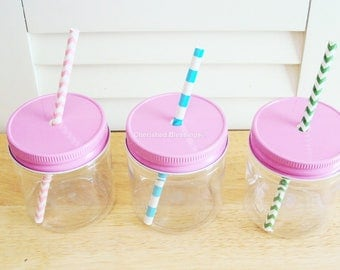 RESERVED 80 Plastic Mason Jars With STRAW lids in Pink, Light Blue, White, Orange, Yellow and 100 Straws