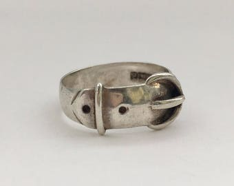 Vintage 1970's Silver Buckle Ring Stacking Band
