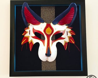 Framed Kitsune Mask - Handmade 8oz. Leather Mask