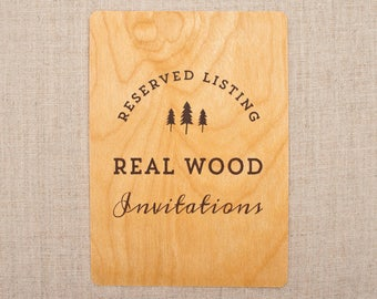 RESERVED For Linda  Real Wood Wedding Invitations