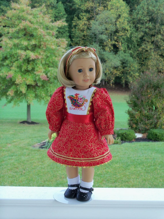 """18"""" Size / Kit's Christmas Dress / Clothes  for 18"""" American Girl® Dolls"""