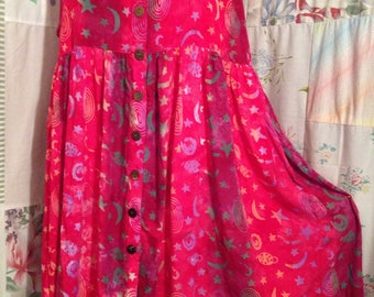 LARGE, Dress, Boho Hippie Flowerchild Hot Pink  Bohemian Batik Sleeveless Summer Dress