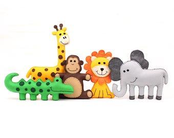 Jungle Safari Animal Patterns, Felt Giraffe Elephant Crocodile Monkey Lion Plushie Patterns, Softies, Hand Sewing Stuffed Animals