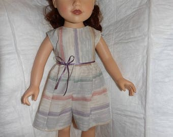 Sleeveless striped Summer romper for 18 inch dolls - ag301