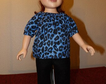 Cute blue & black Leopard print peasant top and black Fleece pants for 18 inch dolls - ag329
