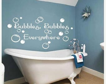 20% OFF Bubbles everywhere-  kids children bath decals art  Bathroom-Vinyl Lettering wall  art words graphics  decal Home decor itswrittenin
