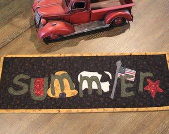 Mini Quilt/ Appliqued Quilt/ Mini Summer Runner / 7.5 x 21 / MW