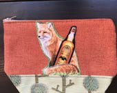 Fox and Whiskey Zippered Pouch Clutch Makeup Bag Pencil Case