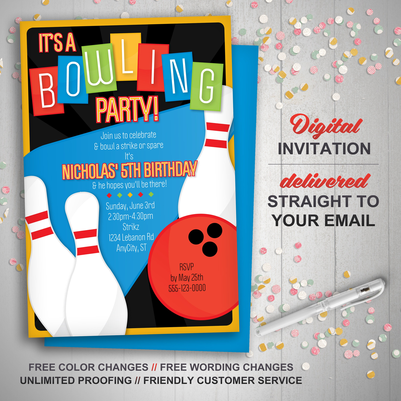 Printable Bowling Invitation Retro Bowling Birthday Party
