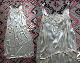 1920's Cream Colored Silk Garden Party Dress / Authentic 20s / Art Deco / Wedding / Women's Dress VTG