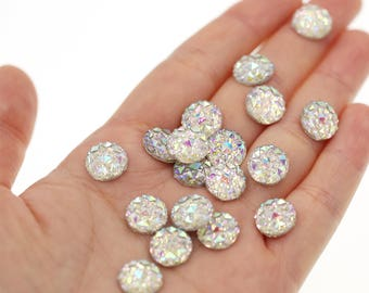 10mm Iridescent Rainbow Clear Faux Druzy Crystal Clusters Cabochons Small DIAMOND Nuggets