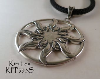 Sun Dance Pendant - round 1 7/8 inch two sided pendant with large bail in golden bronze or sterling silver by Kim Fox
