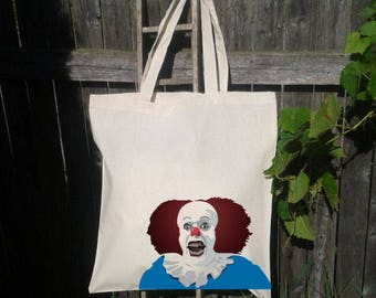 It Clown Tote Bag, Reusable Tote Bag, Grocery Bag, Scary Clown Bag, Halloween Trick or Treat Bag