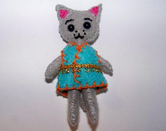 """Micro FabsTM 3.5"""" tall felt cat doll with removable dress comes in a hand-made gift bag"""