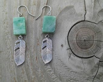 Qinghai Jade and Feather Earrings, Sterling Silver Findings