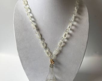 Vintage Mod Clear Lucite Chain and Abstract Pendant Necklace/Modernist Necklace