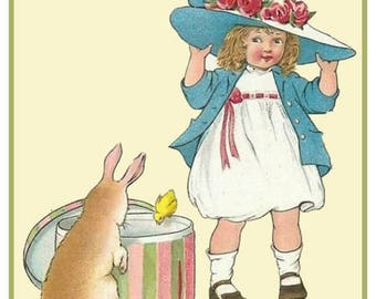 GREAT SALE Vintage Easter Young Girl Trying on Easter Bonnet Counted Cross Stitch Chart / Pattern