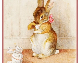 GREAT SALE Bunny Having Tea from Tales of Peter Rabbit by British Author and Artist Beatrix Potter Counted Cross Stitch Chart Graph Pattern