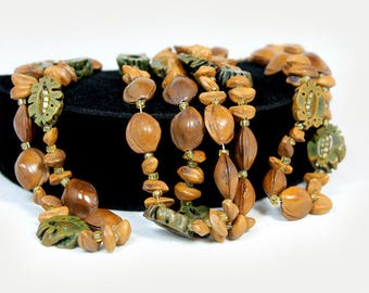 Long Boho-Style Seed and Nut Necklace