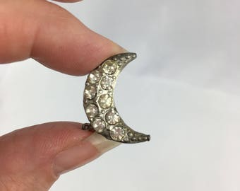Crescent Honeymoon Brooch Something Old Pot Metal Pin Bridal Bling
