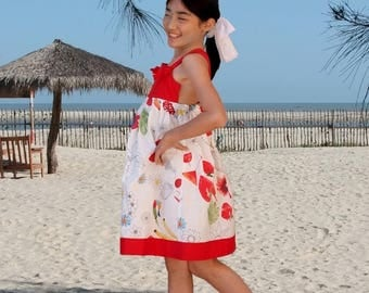 Cross strap back girl dress in pure cotton tropical flowers