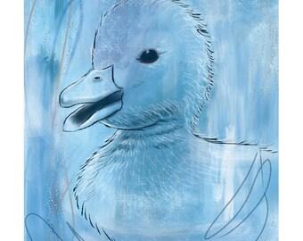 5x7 Nursery Print - Duck, Blue