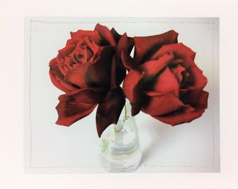 Red Roses Cards - Photography Roses Cards - Red Roses Note Cards - Two Red Roses Greeting Cards