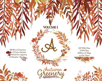 Greenery Clipart | Autumn Leaves ClipArt | Fall Leaf Wreath, Botanicals for Stationery, Wedding Invites, and Products | Greenery Clip Art