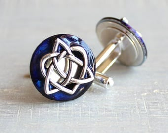 royal blue celtic knot cufflinks, triquetra cufflinks, celtic heart, anniversary gift, celtic knot, irish jewelry, mens jewelry, mens gift
