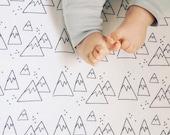 Fitted Crib sheet..Nordic Winter, mountain crib sheet, cot sheet, crib bedding, fitted sheet, fitted crib sheet