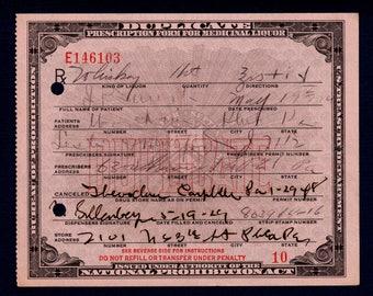 Vintage 5/19 1929 Whiskey Prohibition Prescription Doctor Mulford Campbell's  Pharmacy Philadelphia PA Pennsylvania Mad Men Speakeasy Bar