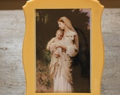 Beautiful Antique Celluloid Picture Frame Madonna and Child