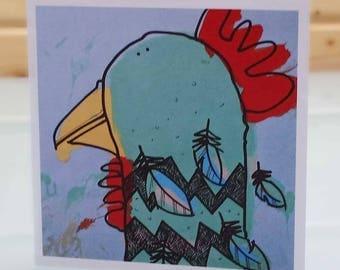 Hen looking left - blank inside card, chicken card, hen card, chicken greeting card, chicken birthday card, funny chicken card
