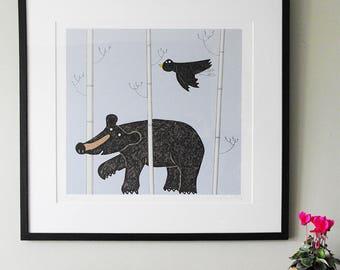 Walking Bear - original black bear print, hand-printed limited edition of 30 black bear prints, black bear art print, black bear unframed
