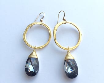 Swarovski Crystal Earrings, Black Diamond Swarovski Crystal Teardrop Hoop Earrings, Gold Earrings, Bridesmaid Jewelry, Indira Boheme