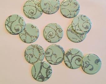 "1"" pre-cut GLITTER CIRCLE CONFETTI (100 pc)  --  Robin's Egg/Aqua Blue/Silver --  create you own garland, envelope seals, favor tags & more!"