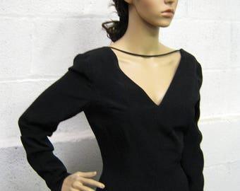 Vintage Giorgio ArmaniI Le Collezioni Black Crepe Evening Dress UK Size 10/12
