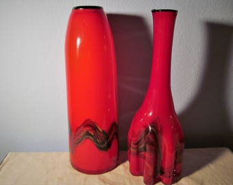 Vintage Set of Two Murano Style Red Layered Vases from Italy