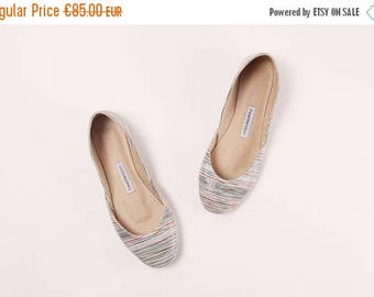 Summer Sale Handmade Leather Ballet Flats | Stripey | Ballet Flats | Last Pair, size 42 | Ready to Ship