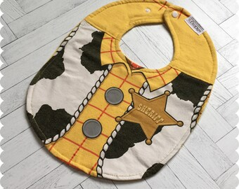 Toy Story Woody Baby Bib, Recycled T-Shirt Bib, Baby Shower Gift, New Baby Gift, Baby Boy Gift