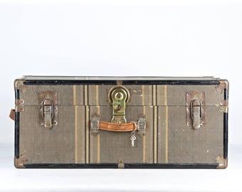 Vintage Trunk Vintage Suitcase Vintage Metal Trunk Old Trunk Striped Trunk Striped Suitcase Antique Trunk Steamer Trunk Steamer Trunk Large
