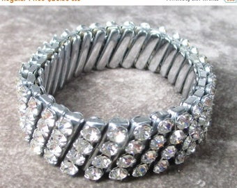 25% Off Vintage Rhinestone Stretch Bracelet, 4 row Expansion Bracelet , Signed Japan, Wedding Bracelet All Clear Rhienstones