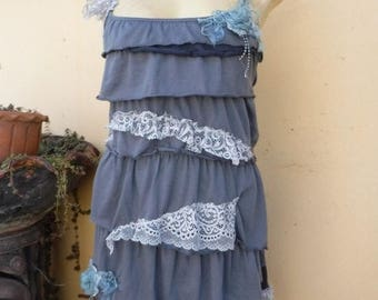 """20%OFF vintage inspired cotton dress/top with ruffled  hem,,small to 40"""" bust..."""